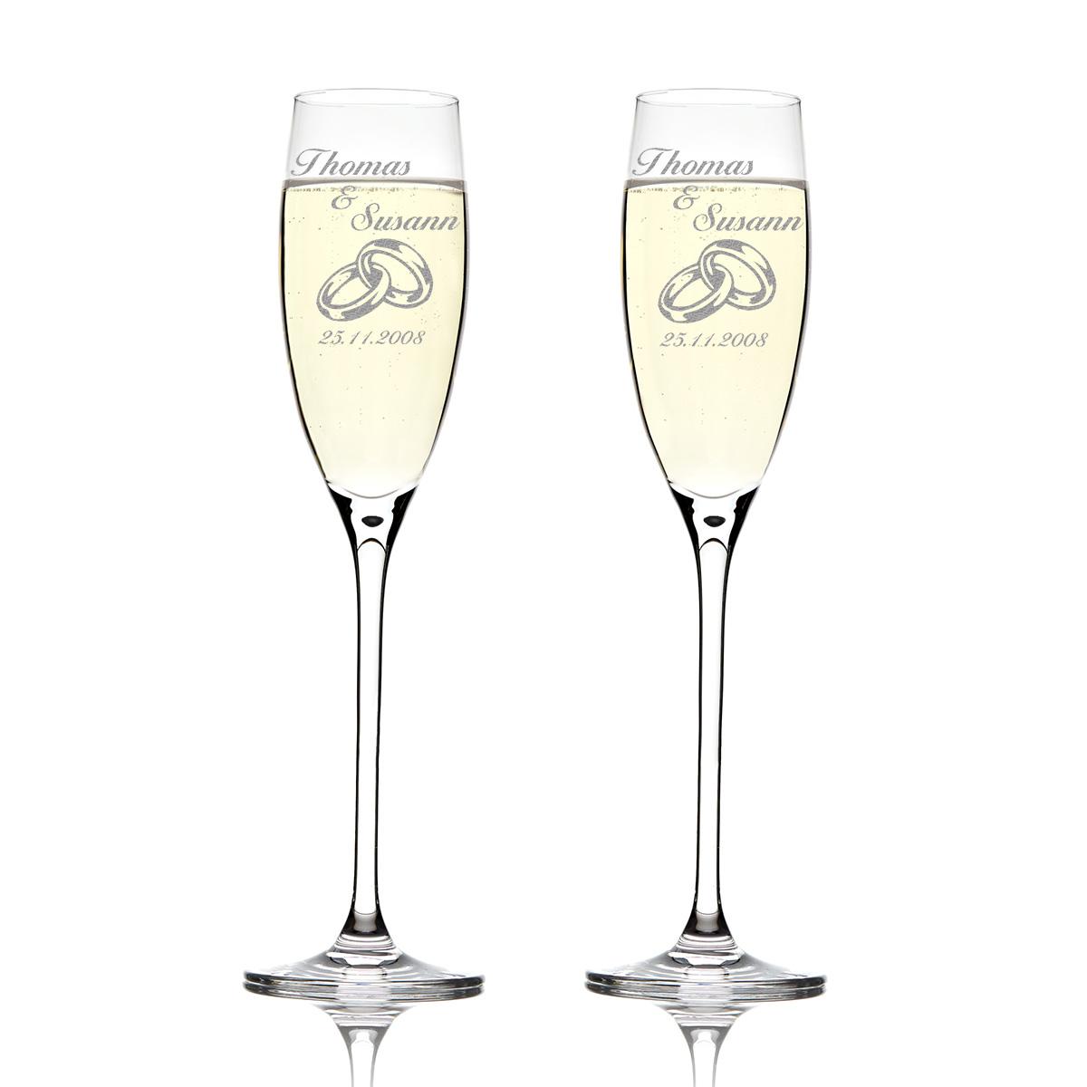 2 Sektgläser mit Hochzeit Gravur Personalisierter Geschenk Sektglas ...