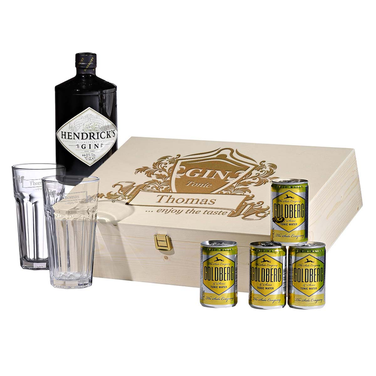 Gravur Motiv enjoy the taste 8-teiliges Geschenkset Hendrick/'s Gin Tonic inkl