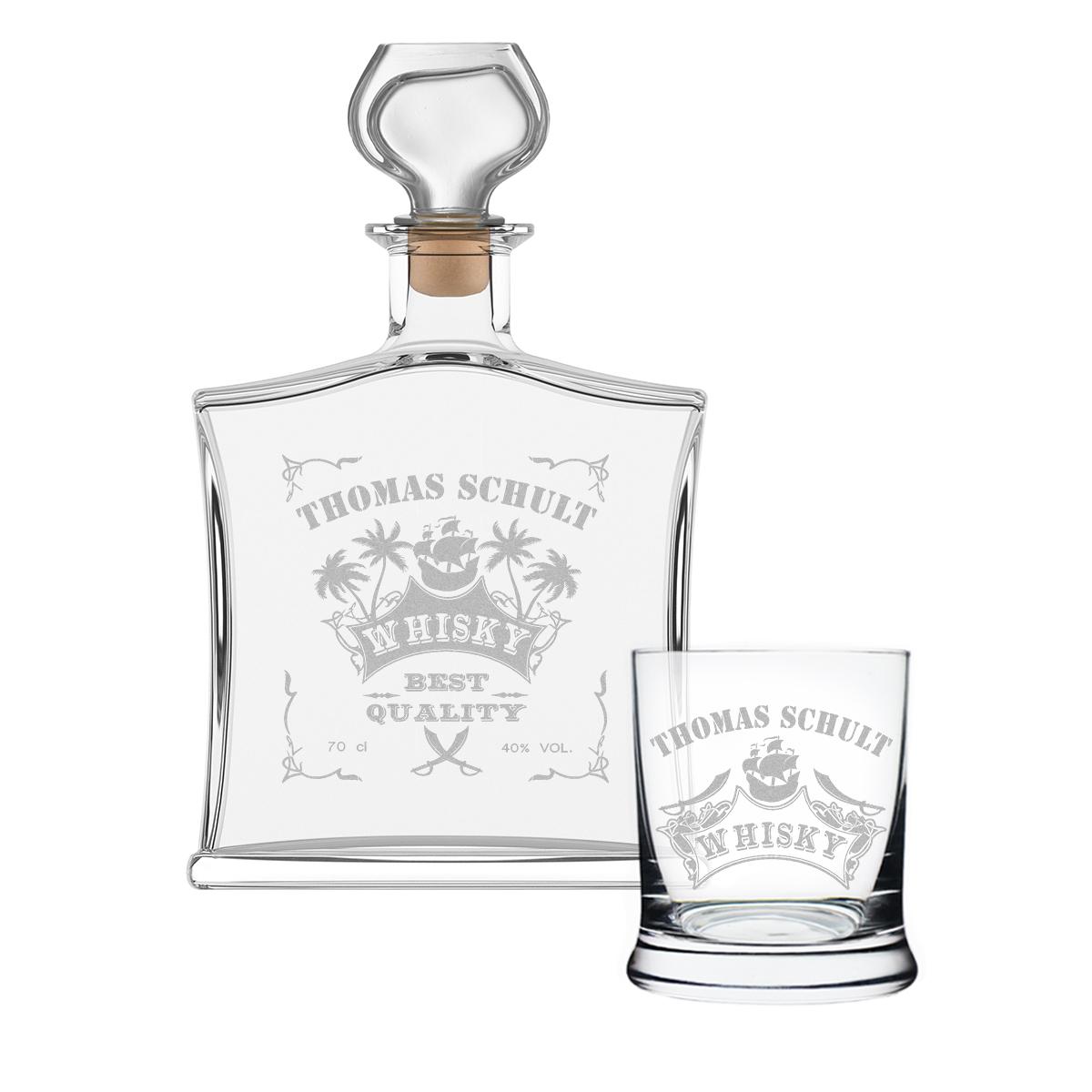 2 teiliges geschenk set mit whiskyflasche und 1x glas inkl gravur ebay. Black Bedroom Furniture Sets. Home Design Ideas