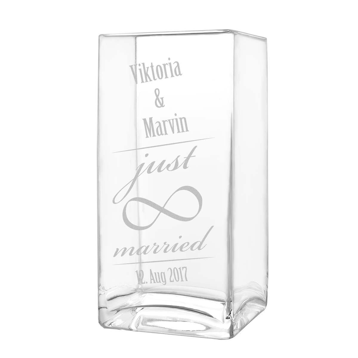 gro e blumenvase vase inkl gravur motiv just married mit unendlichkeitszeichen ebay. Black Bedroom Furniture Sets. Home Design Ideas
