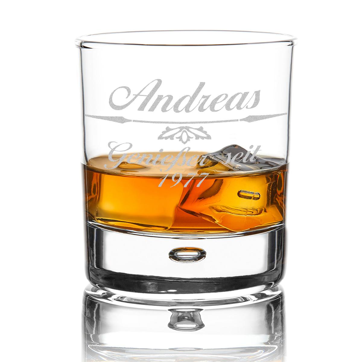 Gravur Motiv Pfeil mit Verzierung Personalisiertes Whiskyglas inkl