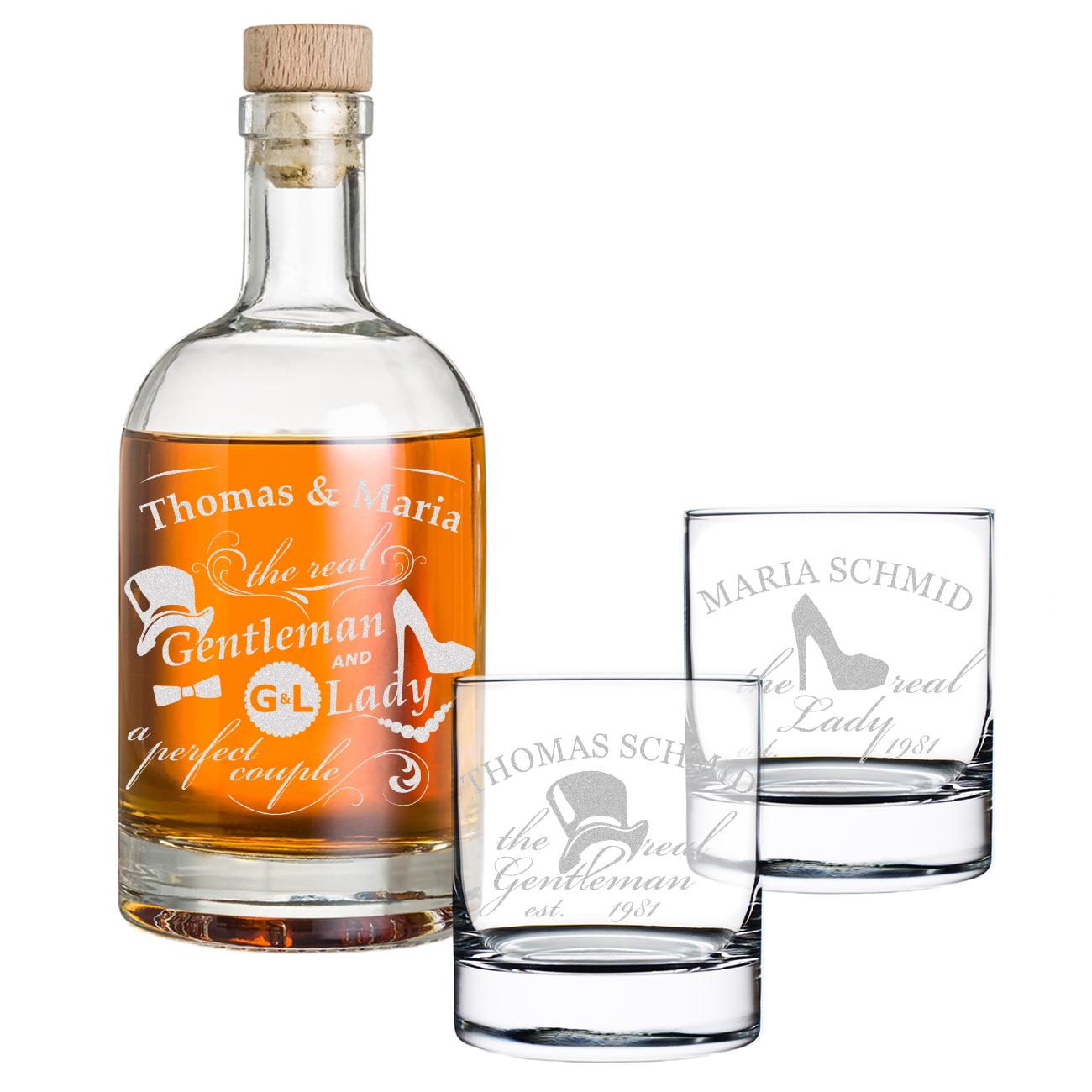 Personalisiertes Whisky Flasche inkl Gravur Piratenschiff