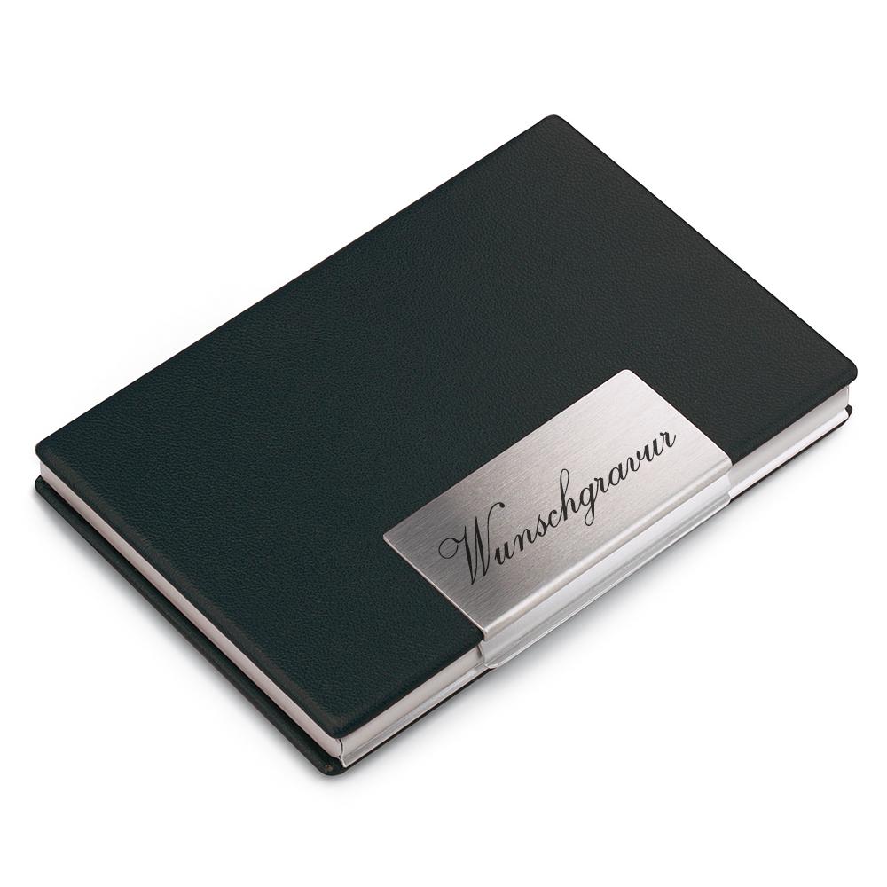 mit Persönlicher Gravur Visitenkartenetui Metall Schwarz für 20-25 Karten