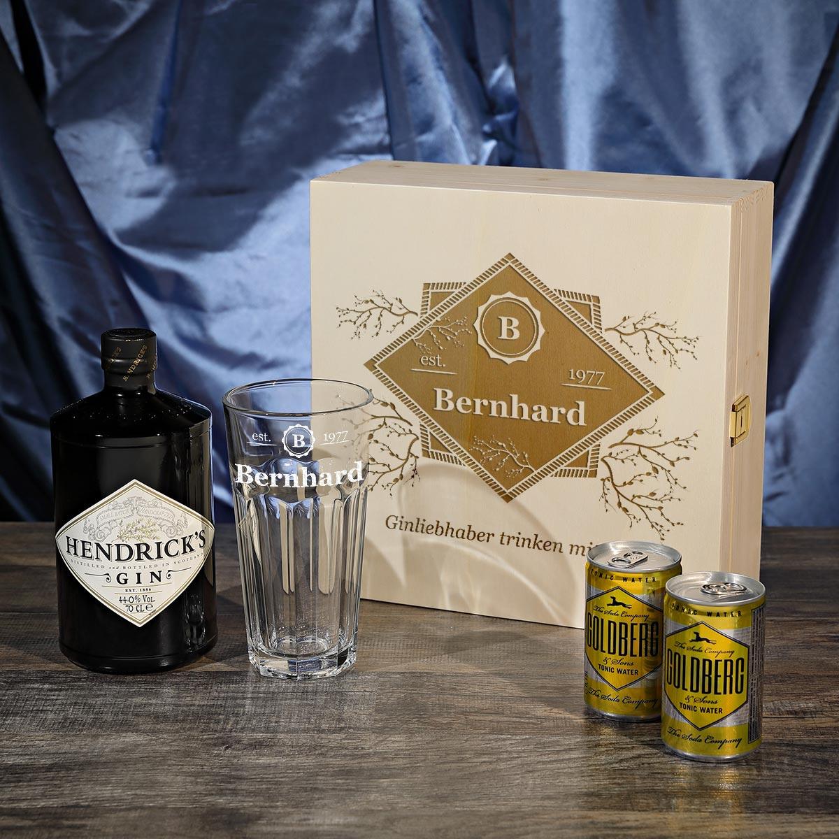 5 teiliges hendrick 39 s gin tonic set inkl gravur motiv trinken mit stil ebay. Black Bedroom Furniture Sets. Home Design Ideas