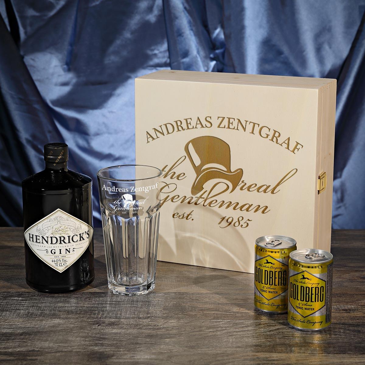 5 teiliges geschenset hendrick 39 s gin tonic inkl gravur motiv the real gentleman ebay. Black Bedroom Furniture Sets. Home Design Ideas