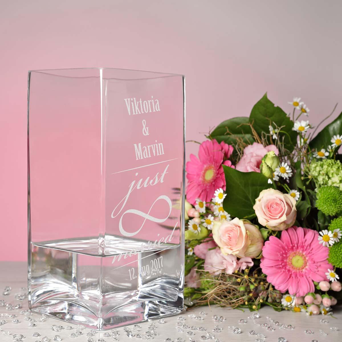 Große Blumenvase große blumenvase vase inkl gravur motiv just married mit