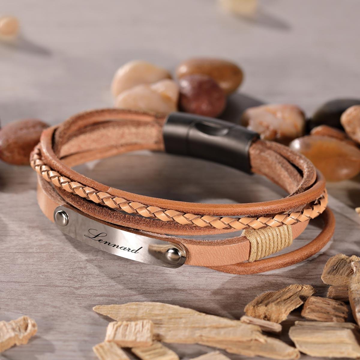 EDEL Leder Armband in Herz Box Elegante mit Edelstahlpaltte GRAVUR nach WUNSCH