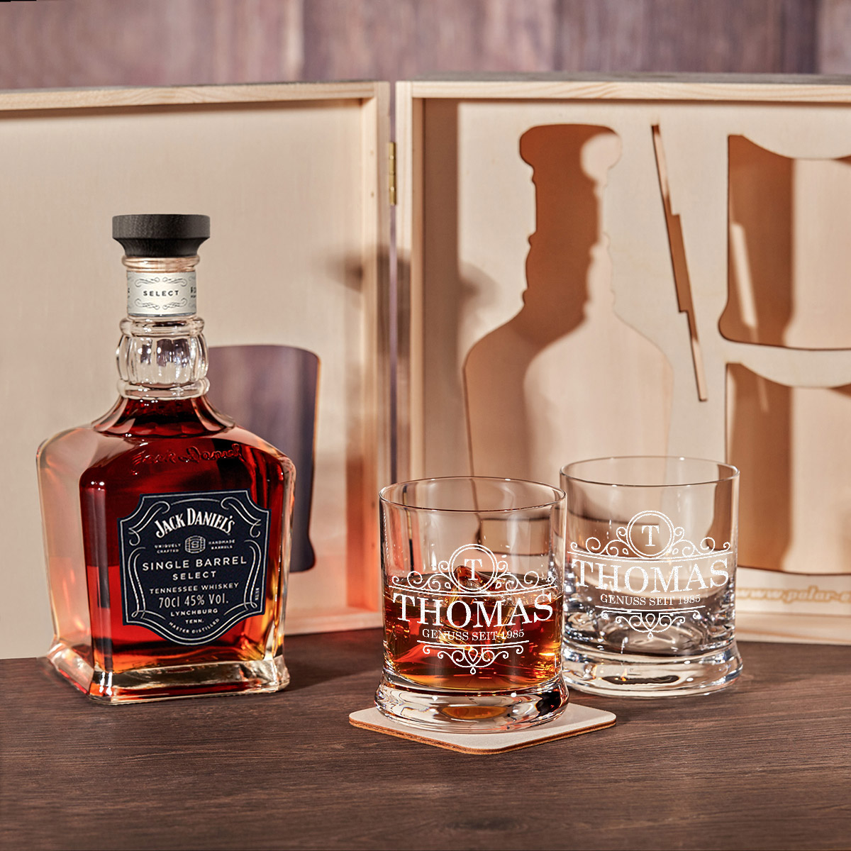 6 tlg jack daniel 39 s whisky geschenk set holzkiste inkl. Black Bedroom Furniture Sets. Home Design Ideas